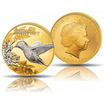 Bienen-Elfe/Shades of Nature, 5 Dollar Silbermünze vergoldet, Cook Inseln