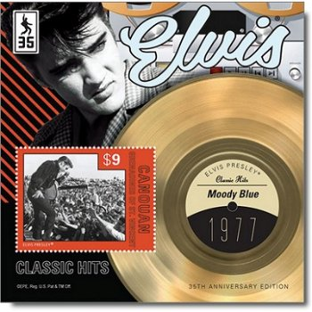 """Elvis Presley """"Moody Blue"""" - Briefmarken-Block, St. Vincent und Grenadinen"""