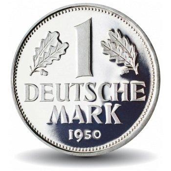 Die erste Mark, 1 DM Münze 1950 mit magnetischer Legierungsvariante, Deutschland