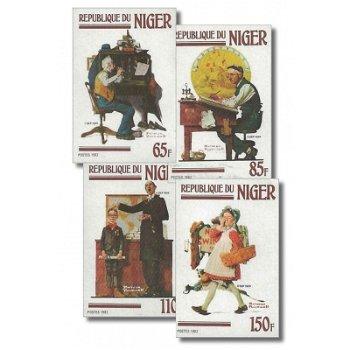 Gemälde von Norman Rockwell - 4 Briefmarken ungezähnt postfrisch, Katalog-Nr. 809-812, Niger