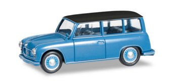 Modellauto:AWZ P70 Kombi, blau-schwarz(Herpa, 1:87)