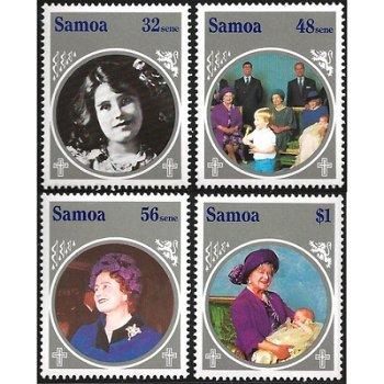 85. Geburtstag von Königinmutter Elisabeth – vier Briefmarken postfrisch, Katalog-Nr. 565-568, Samoa