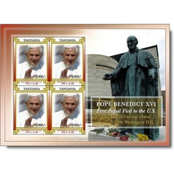 Papst Benedikt XVI. besucht die USA - Briefmarken-Block postfrisch, Tansania