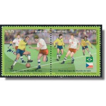 Diplomatische Beziehungen mit der Tschechischen Republik - 2 Briefmarken im Paar, Brasilien