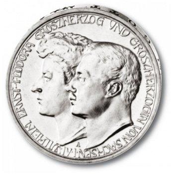 3 Mark Silbermünze, Hochzeit, Katalog-Nr. 162, Großherzogtum Sachsen-Weimar-Eisenach