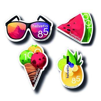 Sommer '21: Drink, Wassermelone, Eis, Sonnenbrille - 4 Briefmarken postfrisch, Schweiz