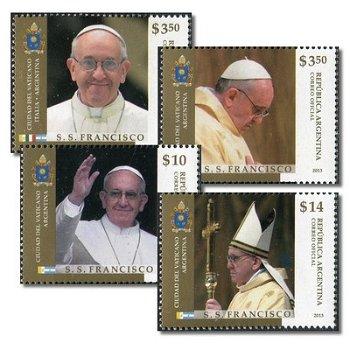 Papst Franziskus - 4 Briefmarken postfrisch, Argentinien