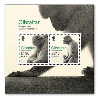 Europa 2021: Gefährdete nationale Tierwelt - Block postfrisch, Gibraltar