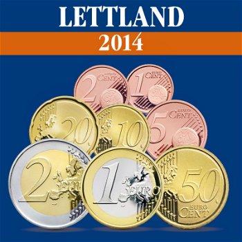 Lettland - erster Euro-Kursmünzsatz 2014, enthaltend 8 Münzen