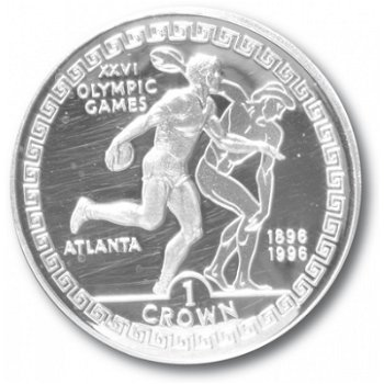Olympische Spiele Atlanta - Diskuswerfer, Silbermünze, Fehlprägung Insel Man/Gibraltar