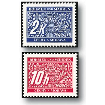 Postage stamps - 14 stamps mint never hinged, catalog no. 1 - 14, Bohemia and Moravia