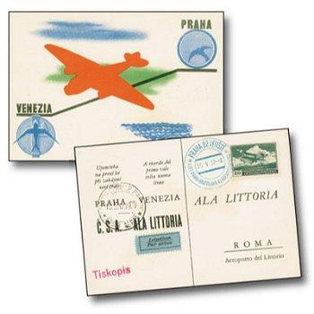 "Erstflug ""Prag - Bratislava - Klagenfurt - Triest - Venedig"" - Flugpostkarte, Österreich"