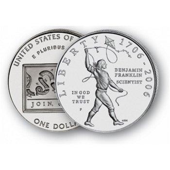 Benjamin Franklin: Wissenschaftler - Silberdollar 2006, 1 Dollar Silbermünze, USA