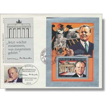 80th birthday of Willy Brandt - special envelope with mixed postage, Germany / Guinea