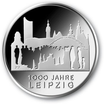 1000 Jahre Leipzig, 10-Euro-Gedenkmünze 2015, Stempelglanz