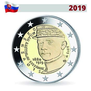 Milan Ratislav Stefanik, 2 Euro Gedenkmünze 2019, Slowakei