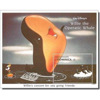 """Disney """"Willie der singende Wal"""" - Briefmarken-Block postfrisch, Dominica"""
