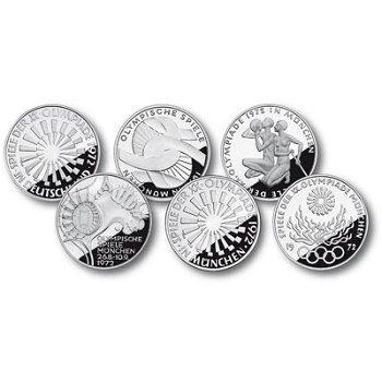 10 DM Olympia-Münzen 1972, Satz mit allen 6 Motiven in Stempelglanz