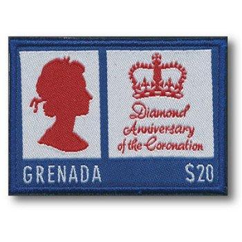 Krönungsjubiläum von Königin Elisabeth II.- Stickerei-Briefmarke postfrisch, Grenada