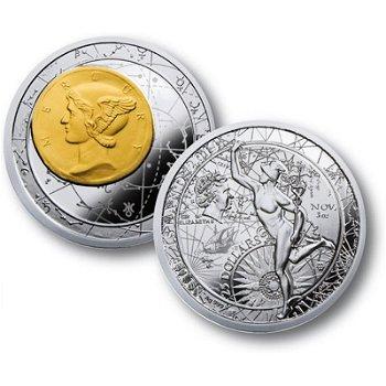 Fortuna Redux, Silbermünze mit Teilvergoldung, Niue
