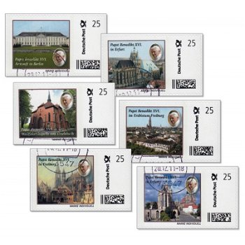 Pope Benedict XVI in Germany - 6 stamps individually stamped