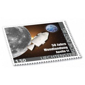 50 Jahre Mondlandung - Briefmarke mit Apollo-Raumschiff aus Titan, postfrisch,Liechtenstein