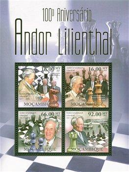 Andor Lilienthal/Schach - Briefmarken-Block postfrisch, Mocambique