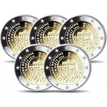 2 Euro Münze 2015, 25 Jahre Deutsche Einheit, Deutschland, alle 5 Prägezeichen