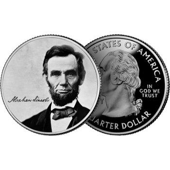 150. Todestag von Abraham Lincoln, 25 Cent Münze, USA
