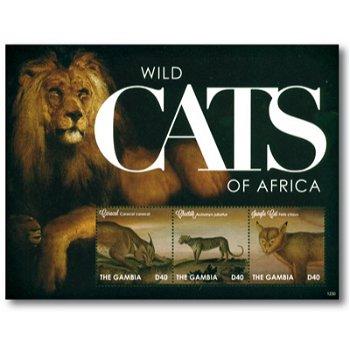 Wilde Katzen Afrikas - Briefmarkenblock postfrisch, Gambia