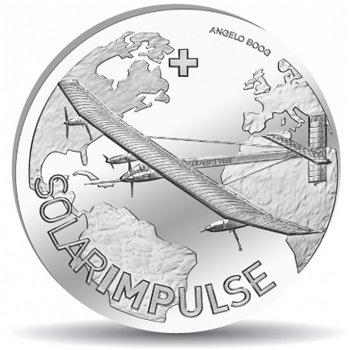 Solarflugzeug Solar Impulse, 20 Franken Münze 2015 Schweiz, Polierte Platte