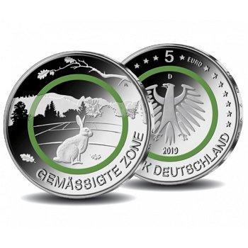 Gemäßigte Zone, 5 Euro Münze mit Polymerring, Stempelglanz, Deutschland
