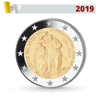 25 Jahre Abschluss Restaurierung der Sixtinischen Kapelle, 2 Euro Münze 2019, Vatikan