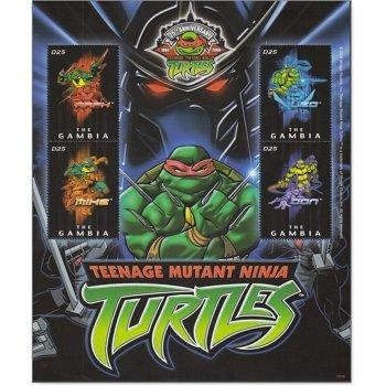 Comic: Teenage Mutant Ninja Turtles - Briefmarken-Block postfrisch, Gambia