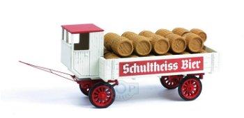 """Modell:Transport-Anhänger """"Schultheiss"""" mit Fässern, 2-achsig(Saller, 1:87)"""
