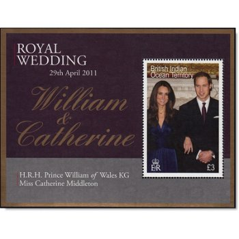 Königliche Hochzeit William und Kate - Briefmarken-Block, Britisches Territorium im Indischen Ozean