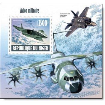 Militär Flugzeuge - Briefmarkenblock postfrisch, Niger