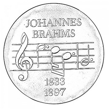 "5-Mark-Münze 1972 ""75. Todestag Johannes Brahms"", DDR"
