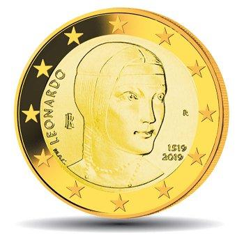 500. Todestag von Leonardo da Vinci, 2 Euro Münze 2019 vergoldet, Italien