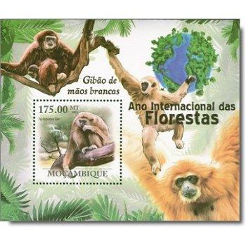 """Affen """"Gibbons"""" - Briefmarkenblock postfrisch, Mocambique"""