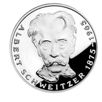 """5-DM-Silbermünze """"100. Geburtstag Dr. Albert Schweitzer"""", Polierte Platte"""