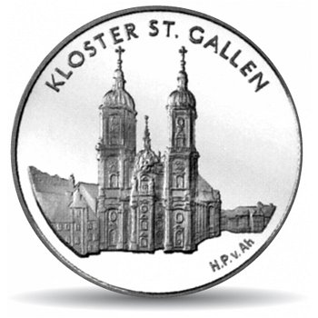 Kloster St. Gallen, 20 Franken Münze 2002 Schweiz, Stempelglanz