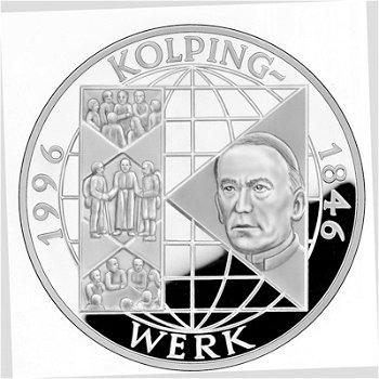 "10-DM-Silbermünze ""150 Jahre Kolpingwerk"", Polierte Platte"