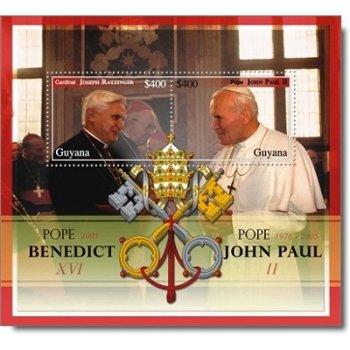 Papst Benedikt XVI. - Briefmarken-Block postfrisch, Guyana