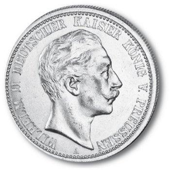 2 Mark Silbermünze, König Wilhelm II., Katalog-Nr. 102, Königreich Preußen
