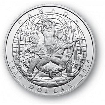 75. Jahrestag Zweiter Weltkrieg - Silberdollar 2014, 1 Dollar Silbermünze, Canada