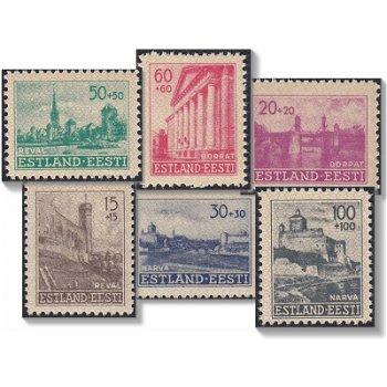 Wiederaufbau in Estland - 6 Briefmarken postfrisch, Katalog-Nr. 4-9, Deutsche Besetzung Estland