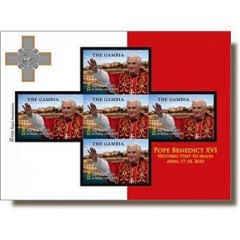 Papst Benedikt XVI. Besuch auf Malta - Briefmarken-Block postfrisch, Gambia