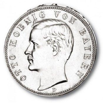 3 Mark Silbermünze, König Otto, Katalog-Nr. 47, Königreich Bayern