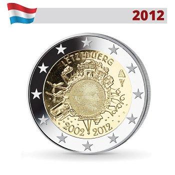 2 Euro Münze 2012, 10 Jahre Euro, Luxemburg
